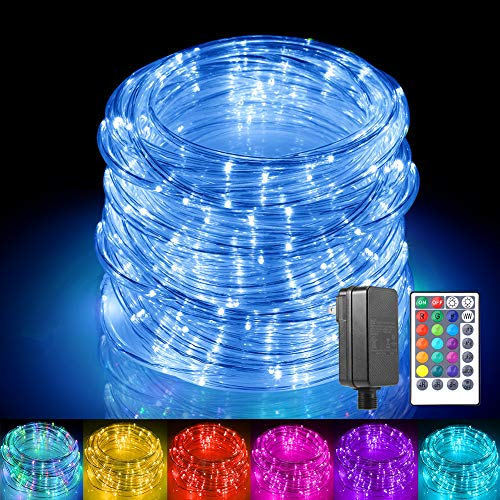 ALOVECO Rope Lights Outdoor,150 LED String Lights 17 Color Changing Rope Light Waterproof Connectable Indoor Outdoor Fairy Lights for Christmas Bedroom Tree Patio Garden Deck Fence Decoration(49ft)