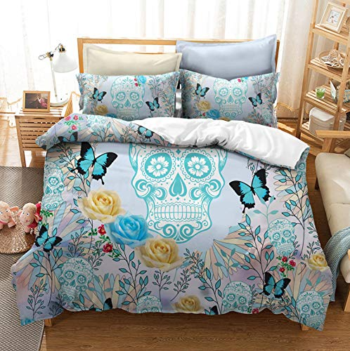 HDBUJ Skull And Butterfly Duvet Cover, With Zipper, Soft Polyester Bedding, Easy Maintenance, Two Pillowcases 200X200Cm