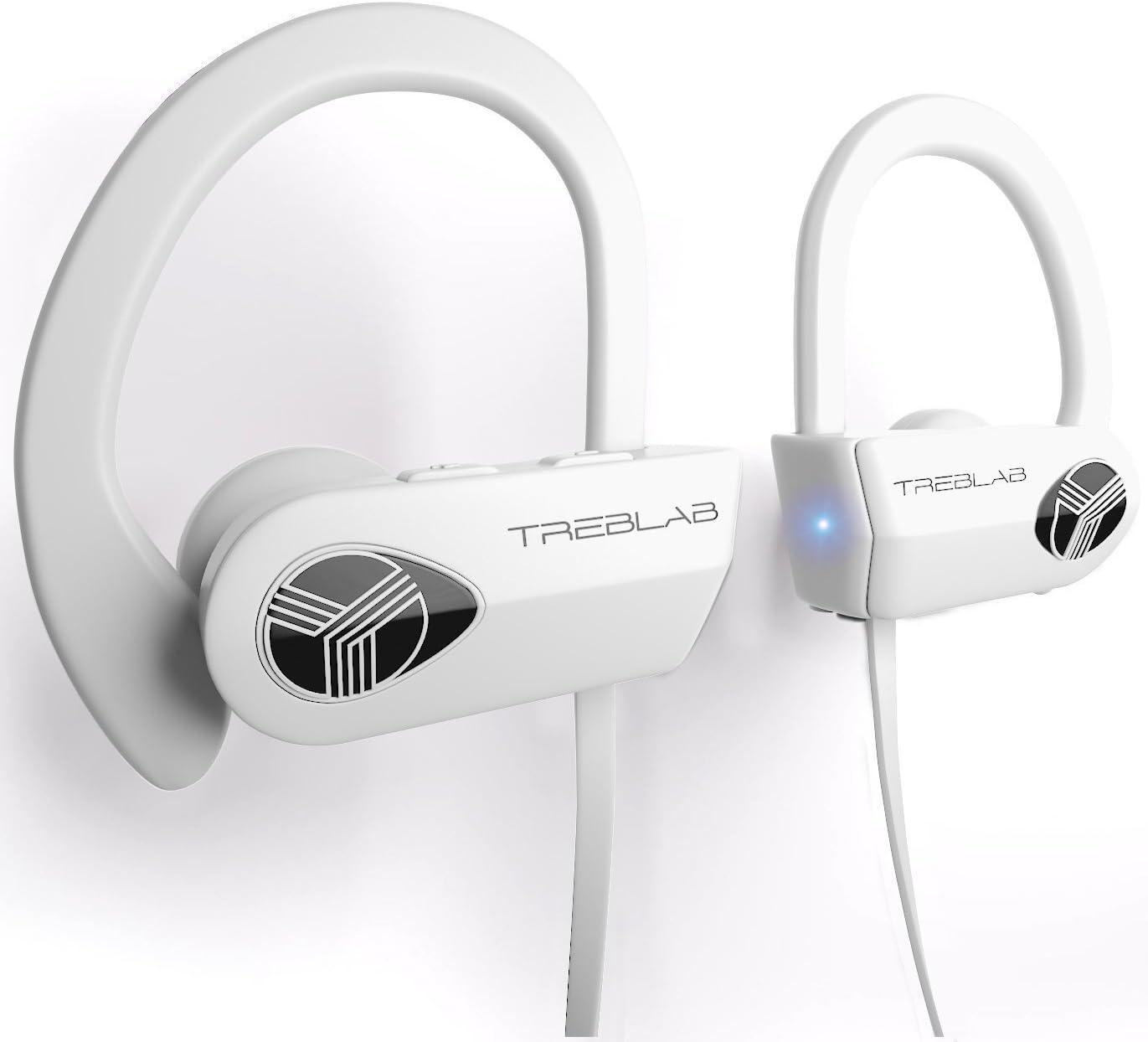 TREBLAB XR500 Bluetooth Headphones, Best Wireless Earbuds for Sports, Running or Gym Workout. IPX7 Waterproof, Sweatproof, Secure-Fit Headset. Noise Cancelling Earphones w/Mic