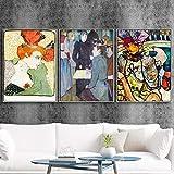 VCFHU Toulouse Lautrec Canvas Art Wall Cuadros Pinturas Abstractas Poster Famosos Impresiones Inicio para La Salon De Estar Obra De Arte Decoracion De La Pared 40x50cmx3 Sin Marco