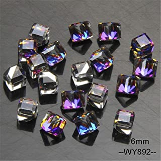 Fantasy 3D Glass Crystal Nail Charms Rhinestones For Nails Geometric Cube Square Nails Art Decorations WY892