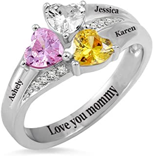 Sterling Silver Customized Name Rings with 2-5 Birthstones Engraving Personalized Stacking Name Rings