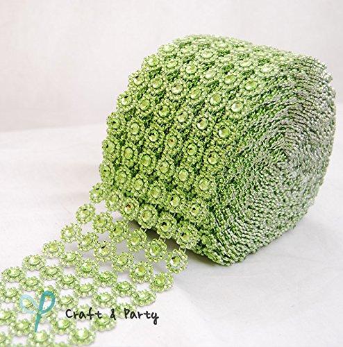 "Diamond Flower Shape Mesh Wrap Roll Faux Rhinestone Crystal Ribbon 4"" x 10 yards (30 ft) … (Turquoise)"