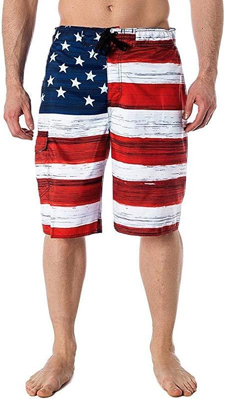 2019 New Men S Beach Shorts Jogger Trousers Summer Gym Shorts American Flag Print Pants Elastic Waist