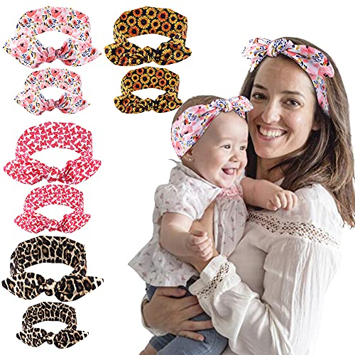 Canitor Mommy and Me Headband Set Baby Girl Headbands with Bows First Mothers Day Gifts Knotted Baby Girl and Mom Headbands Floral Print Elastic Hairbands Bandana Bow Head Band Wrap ( 8 Pecice/4 Sets)