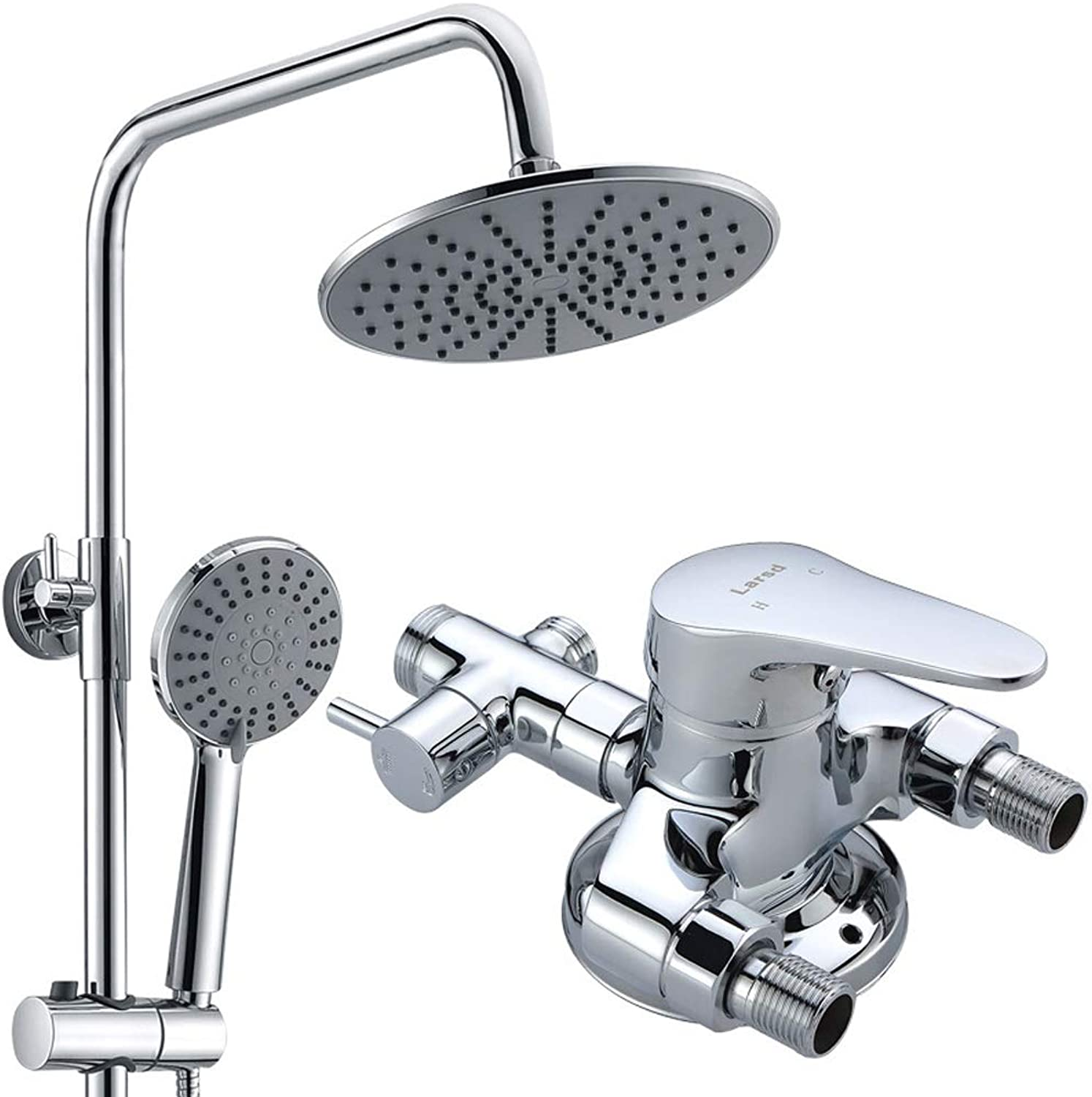 9-inch Bathroom Shower Faucet Chrome-plated Thermostatic Shower 5 Function Round Double Head Suit