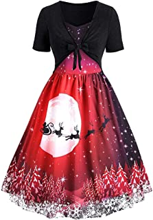 HDGTSA Womens Cocktail Party Dress Christmas Dresses Printed Short Sleeve Bow Knot A-Line Dress