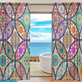 78 in curtain panel - Curtains Panels Colorful Mandala Bohemian Window Sheer Panels for Living Room Drapes 78 inch Long, Set of 2 Panels