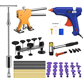 POWPDR Auto Paintless Dent Repair Removal Kit, 58pcs Car Dent Remover Puller Tools for Door Ding Small Hail Damage Dent Fix