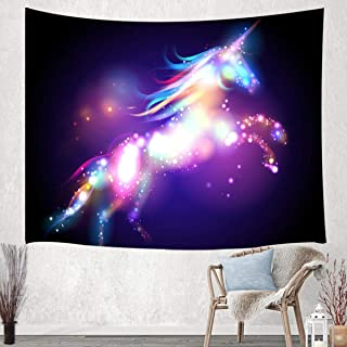 JAWO Unicorn Tapestry Wall Hanging, Colorful Fantasy Animals with Bright Spots Young Tapestries for Dorm Living Room Bedroom, Wall Blanket Beach Towels Home Decor 60X40 Inches