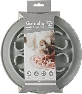 inooko - Gamelle Anti-glouton pour Chat, Antidérapante, Gris Clair-250 ml