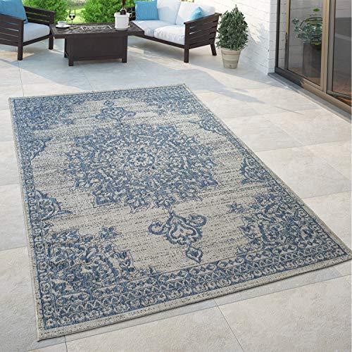 Paco Home Outdoor Teppich Blau Beige Orient Design Blumen Muster Balkon Wohnzimmer, Grösse:160x220 cm