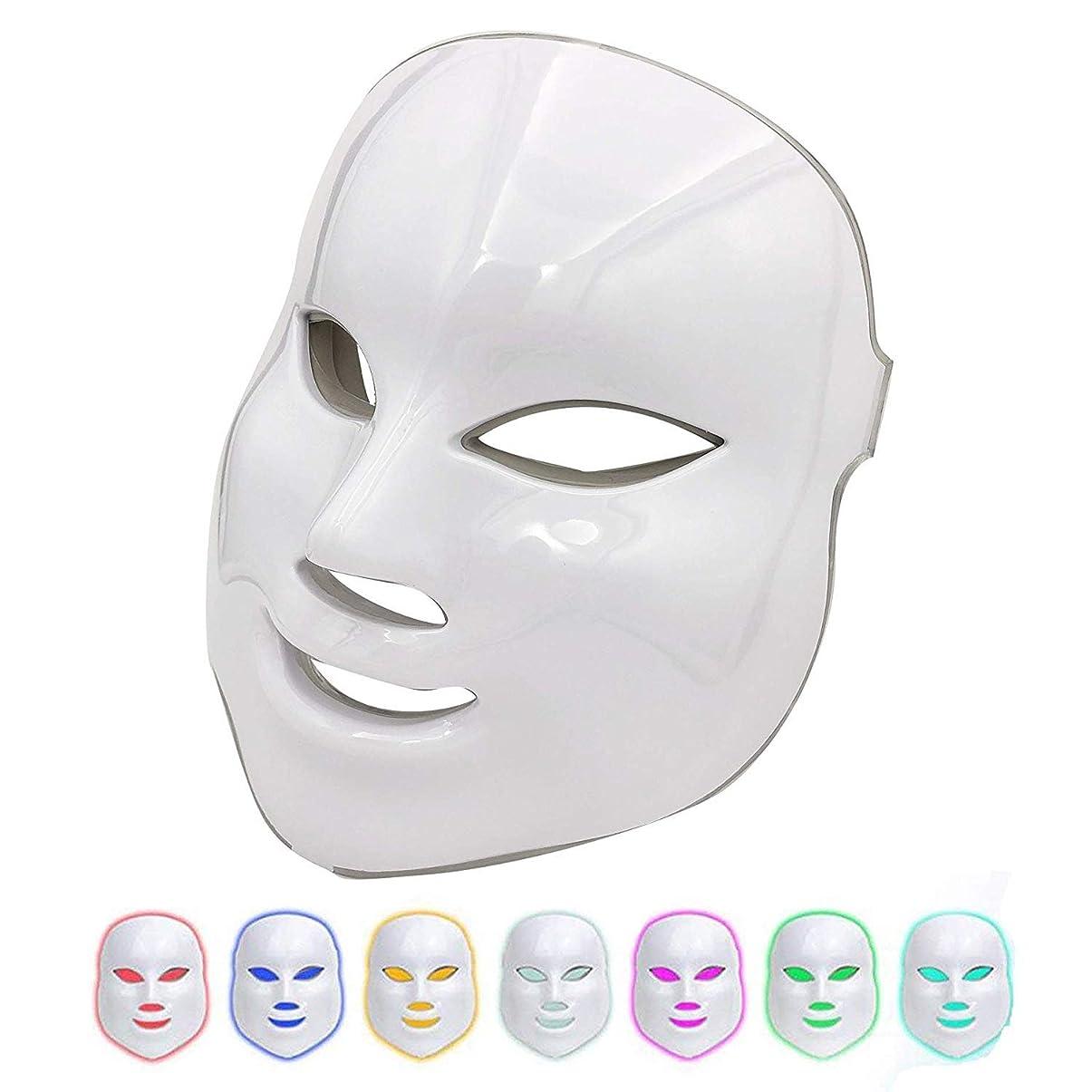 ゴム電話する使役美容マスク7色ledライト光子療法にきび跡除去アンチエイジング肌の若返りフェイシャルケアフェイシャルトーンデバイス