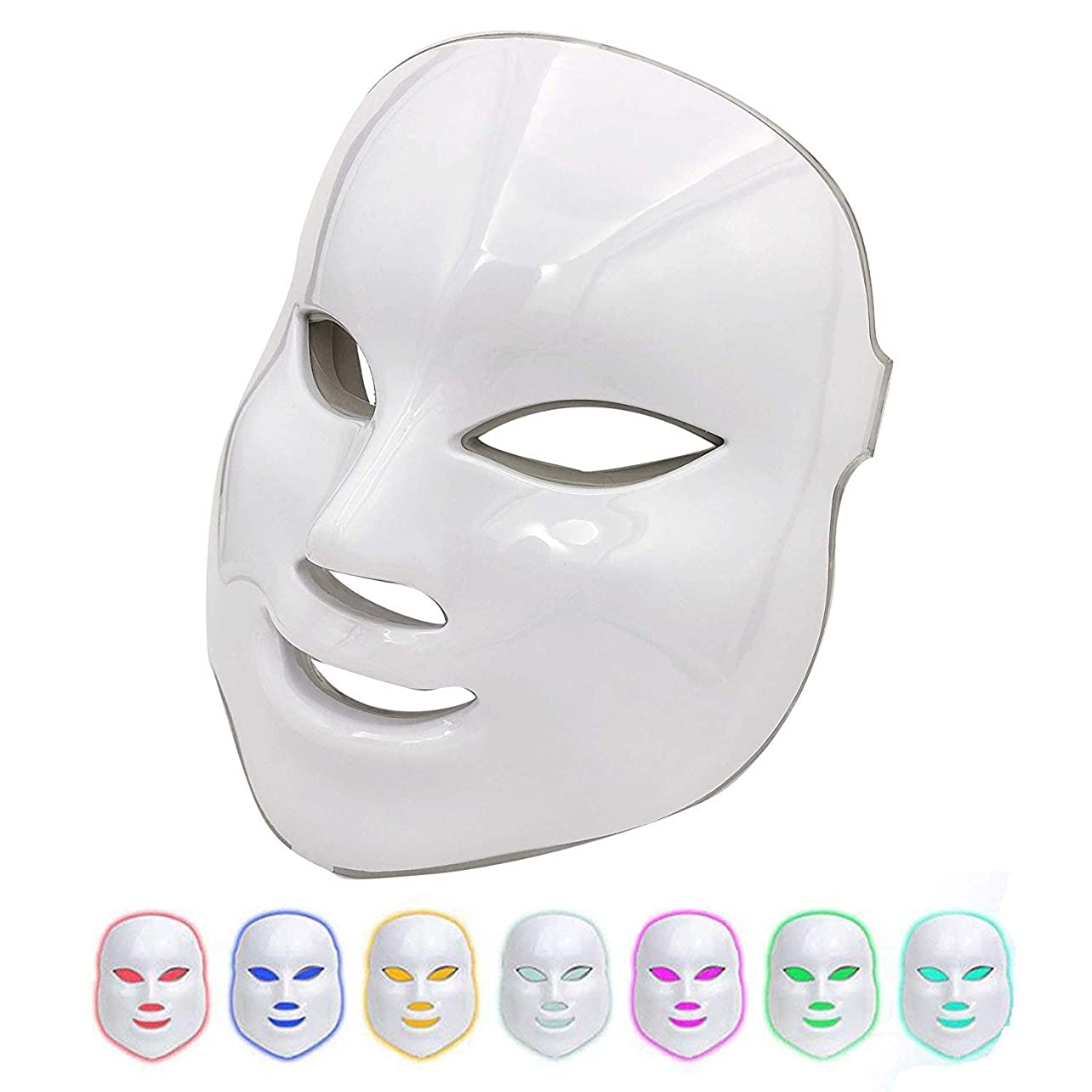 モーター酸化物月曜日美容マスク7色ledライト光子療法にきび跡除去アンチエイジング肌の若返りフェイシャルケアフェイシャルトーンデバイス