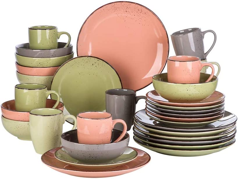 DSFEOIGY 32 Piece Stoneware Ceramic Dinner Dinnerware Outlet latest ☆ Free Shipping Set with P