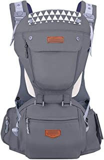 Ergonomic Baby Carrier Breathable Infant Backpack Stool Sling Hipseat Newborn Heaps Baby 20kg Wrap,Gray