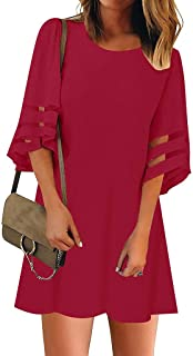 Masun Women's Dress Women's Perspective Striped Top 3/4 Flare Sleeve Loose Sexy Beautiful Comfortable Elegant Top Dress
