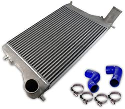 New Aluminum Front Mount TURBO Intercooler Piping Kit, Blue Hose Compatible For VW MK5 / MK6, Passat B6/B7, Audi A3/S3, 2.0T Silver