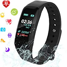 Fitness Tracker, Color Screen Activity Tracker Watch with Blood Pressure Blood Oxygen, IP67 Waterproof Weather Display Smart Band with Heart Rate Sleep Monitor Calorie Counter for Men Women and Kids