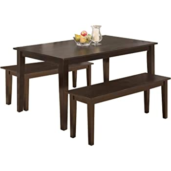 Amazon Com Modern 45 Inch Dining Table Set Solid Wood Kitchen Table With Two Benchs Dining Room Table Set For Small Spaces Table Home Furniture Rectangular Table Chair Sets