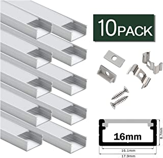 LED Aluminum Channel Wide,StarlandLed Aluminum Profile 10-Pack with Complete Mounting Accessories for up to 16mm LED Strip Light, Perfectly Suit for Philips Hue LightStrip Plus