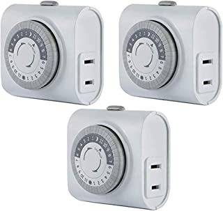 GE 3 Pack, 44801 24-Hour Indoor Basic Timer, 1 Polarized Outlet, Plug-in, Daily On/Off Cycle, 30 Minute Interval, for Lamp...