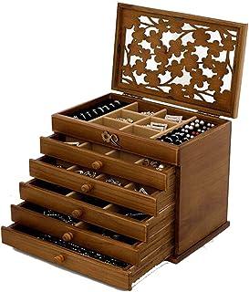 Grande Boîte À Bijoux En Bois, Coffret À Bijoux, Bague, Collier, Boîte De Rangement Pour Cadeau, Organisateur De Boucles D...