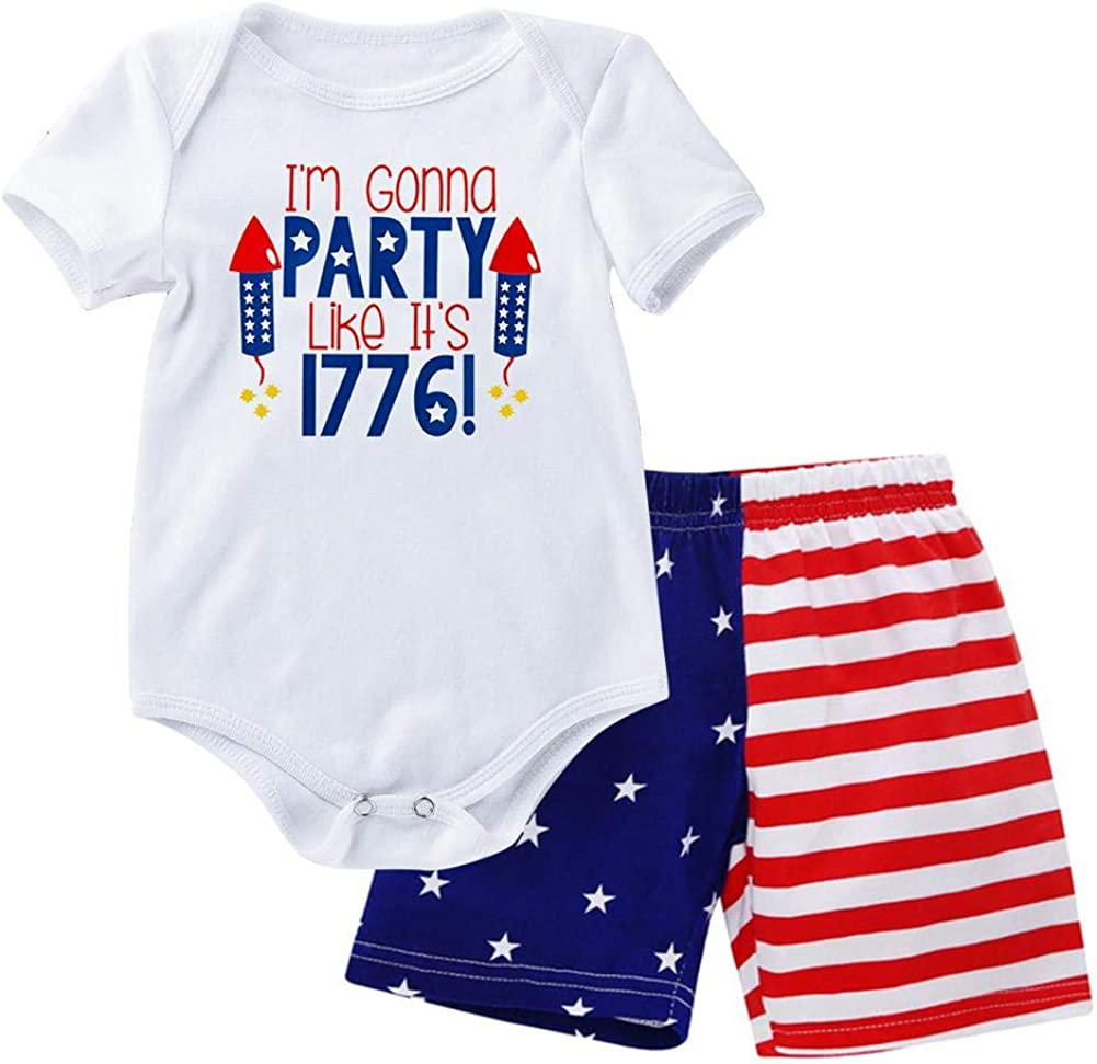 My First 4th of July Baby Boys Outfit American Flag Romper Stars Stripes Shorts Independence Day Patriotic Clothes Set