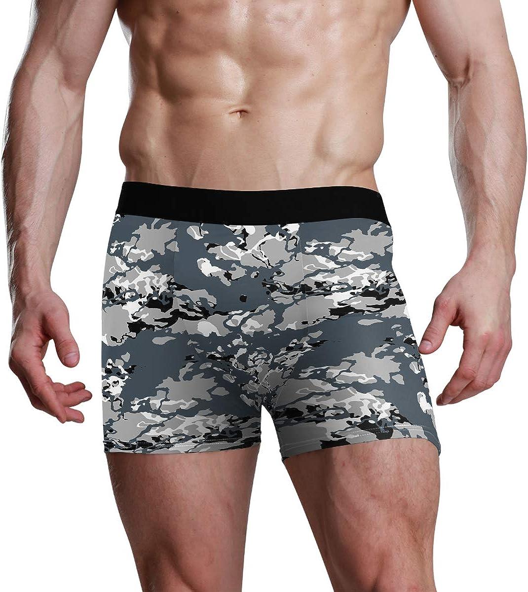 HangWang Mens Underwear Briefs Camo Black White and Gray Urban Camouflage Breathable Long Boxer Briefs Underwear Boys