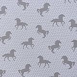 Dekostoff Canvas Ottoman Pferd grafisch grau weiß 1,40m