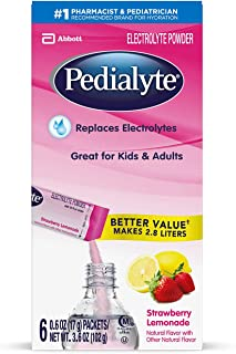 Pedialyte Electrolyte Powder, Strawberry Lemonade, Electrolyte Hydration Drink, 0.6 Ounce Powder Packs, 3.6 Ounce (Pack of 1)