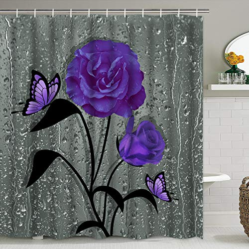 """TAMOC Purple Rose Shower Curtain, Butterfly Shower Curtain with 12 Hooks, Waterproof Grey Floral Shower Curtains for Bathroom Decor, 69"""" x 70"""""""
