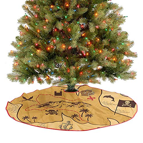 Merry Christmas Tree Skirt Faded Antique Map of Treasure Showing Island with Coast and Compass Star Christmas Holiday Party Decoration for Xmas Tree Holiday Party Decorations - 30 Inch