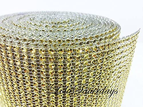 LolaSaturdays 4.5x 30FT Diamond Rhinestone Ribbon Wrap Roll- Cake and party decoration Gold by LolaSaturdays