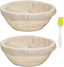 "ABeauty 2pcs 7"" Banneton Proofing Basket Round Bread Proofing Basket with Linen Liner Eco-Friendly Natural Rattan for Professional & Home Bakers"