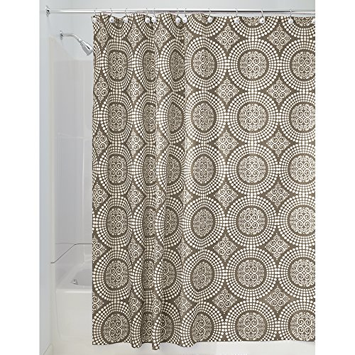 Price comparison product image iDesign Medallion Fabric Shower Curtains,  Long Shower Curtain,  Made of Polyester,  Brown