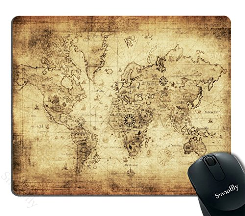Smooffly Antique Map Mouse Pad,World Map Antique Vintage Old Style Rectangle Non-Slip Rubber Mousepad Gaming Mouse Pad, 240MM X 200MM X 3MM