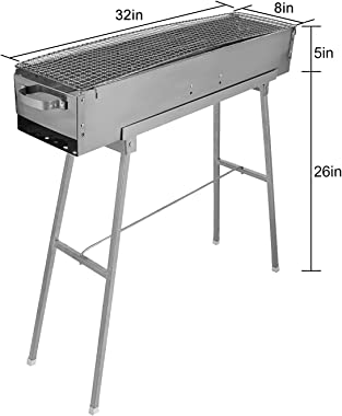 """IRONWALLS Portable Charcoal Grills, 32"""" x 8"""" Stainless Steel Folded Camping Grill Kebab Skewer BBQ Barbecue Grill Kit"""