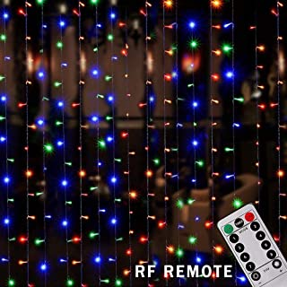 LIGHTESS Curtain Lights with Remote 300 LED Window Fairy String Light Indoor Outdoor for Christmas Wedding Party Garden Bedroom Decoration, Multicolor, 8 Modes 9.84ft Length x 9.84ft Width