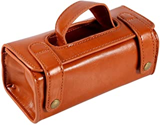 SODIAL Brown PU Leather Men's Cosmetic Pouch Fashion Waterproof Shaving Brush Razor Travel Toiletry Bag