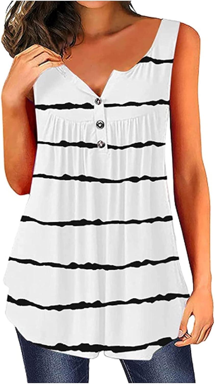 ovticza Women Casual Tank Tops Summer Stripet Print Sleeveless Shirt Vest Cami Female Loose Button Camisoles Tunic