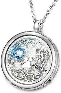 MESTIGE Women Crystal Hallowed Floating Charm Necklace with Swarovski Crystals