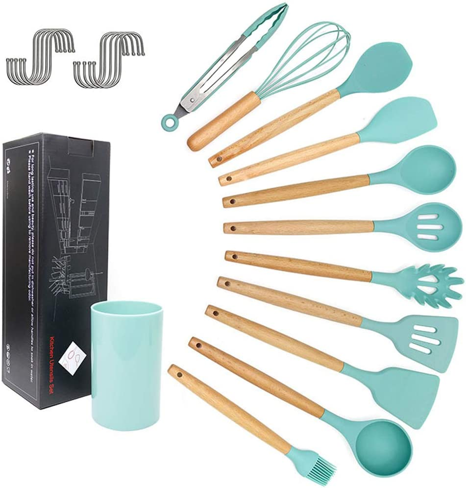 Silicone Cooking Utensil Set 12 Classic Pcs Limited time for free shipping Utensils Kitchen Non-stick