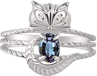 RYLOS CAT Ring with Oval Gemstone & Genuine Sparkling Diamonds in Sterling Silver .925-7X5MM Color Stone