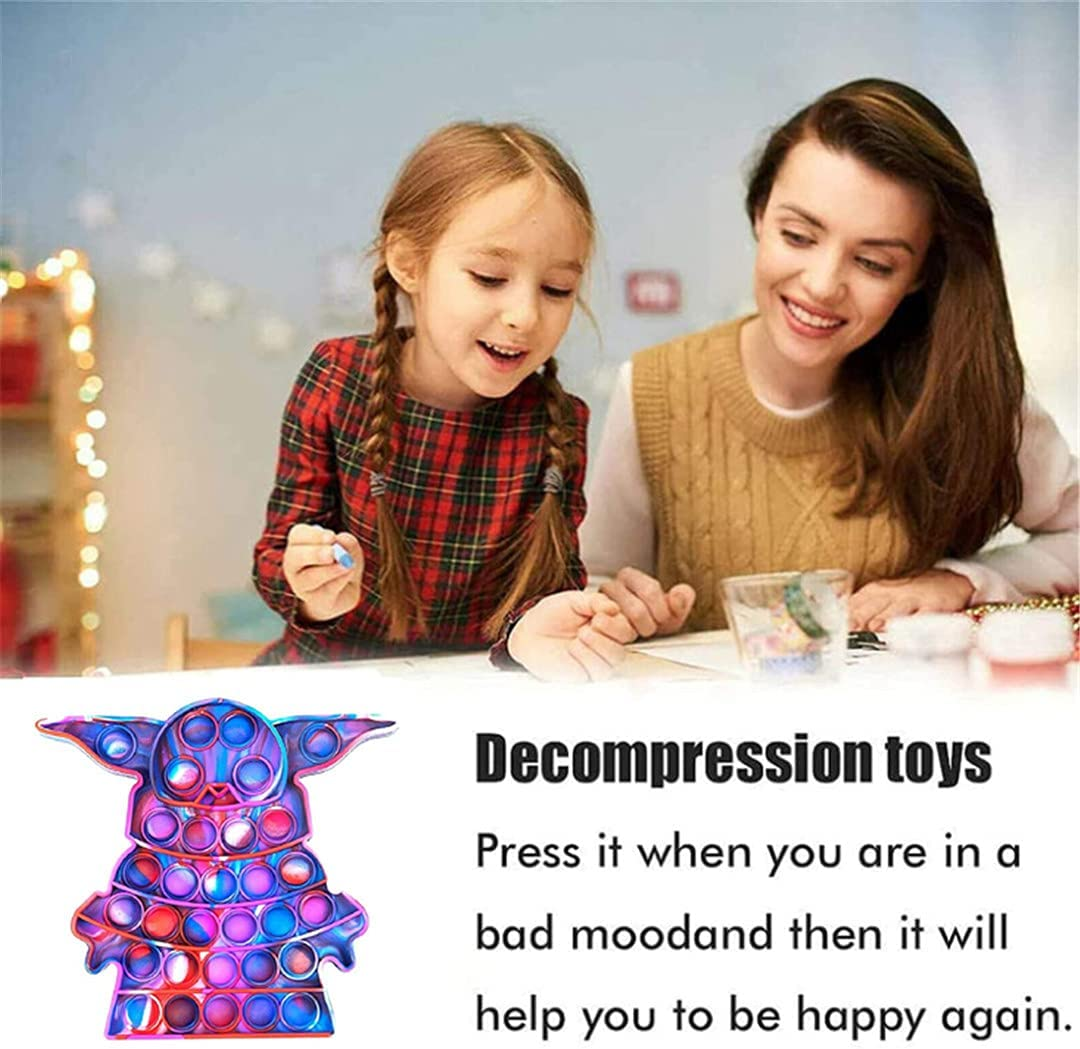 Educational Game Toy Gift for Kids ADHD or Autism Cute Push Pop Bubble Fidget Sensory Toy Silicone Stress Reliever Push Pop Fidget Toy Squeeze Sensory Toy for Kids with ADD Alien Agate