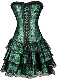 Women Overbust Corsets Bustier Steampunk Gothic Sexy Lace Up Strapless Vintage Shapewear Dresses