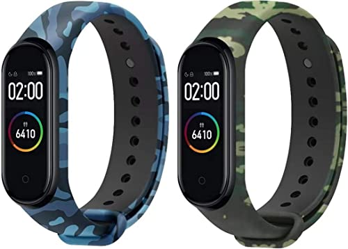 Sounce Blue Green Camo Adjustable Watch Strap Combo for Xiaomi Mi Band 3 Mi Band 4