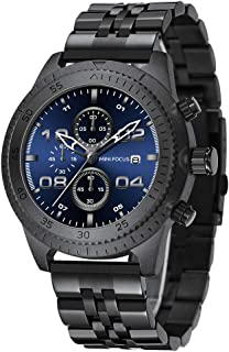 MINI FOCUS Chronograph Quartz Watches Men Stainless Steel Waterproof Quartz Watch Luxury Black Sports Wristwatch for Men