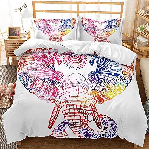 Bedclothes-Blanket Juego de sabanas Cama 90 Juveniles,Ropa de Cama de impresión Digital 3D Conjunto de Tres Piezas de Elefantes Animales-3_175 * 218cm