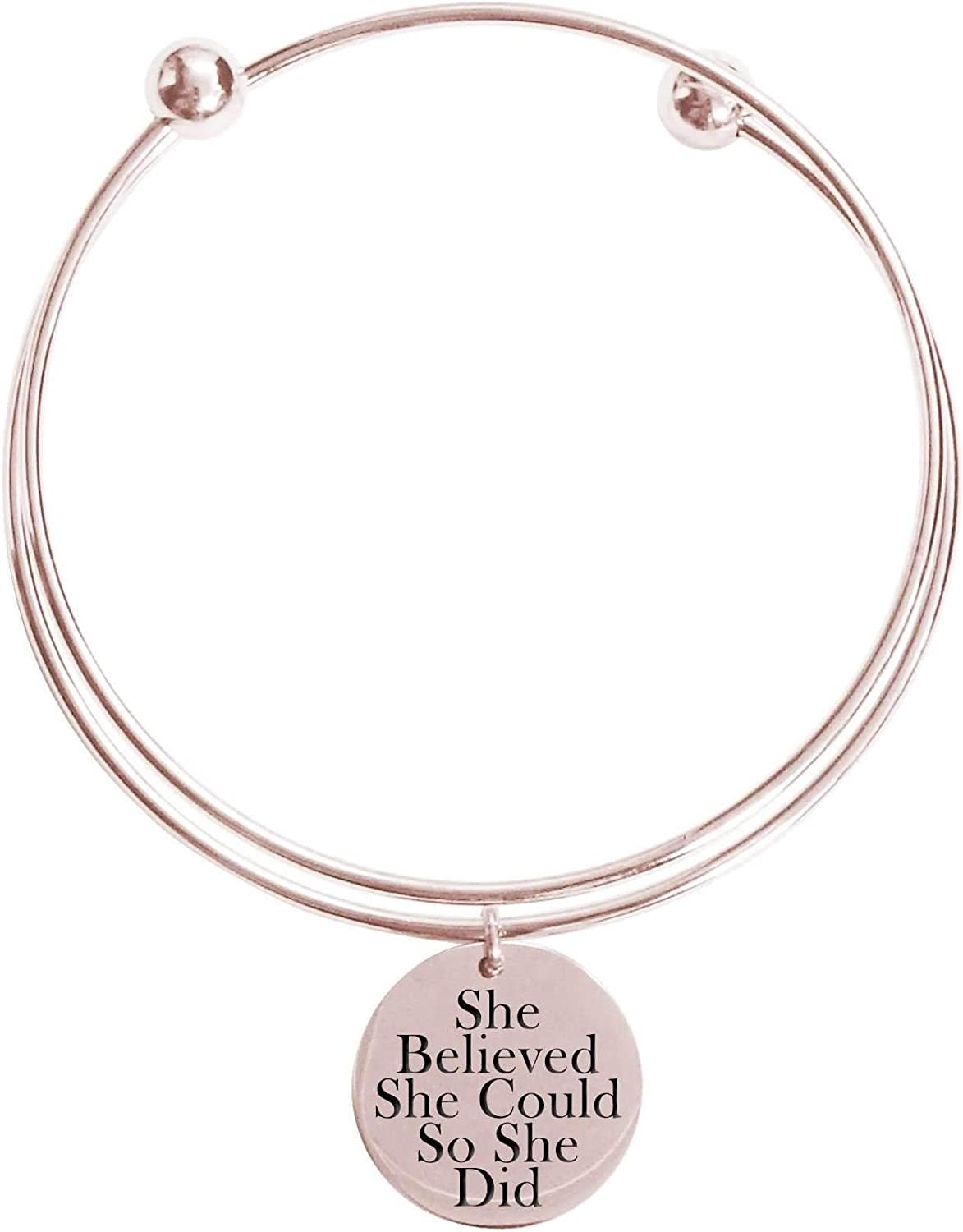 Pink Box She Believed She Could So She Did Double Layer Bangle - Rose Gold -